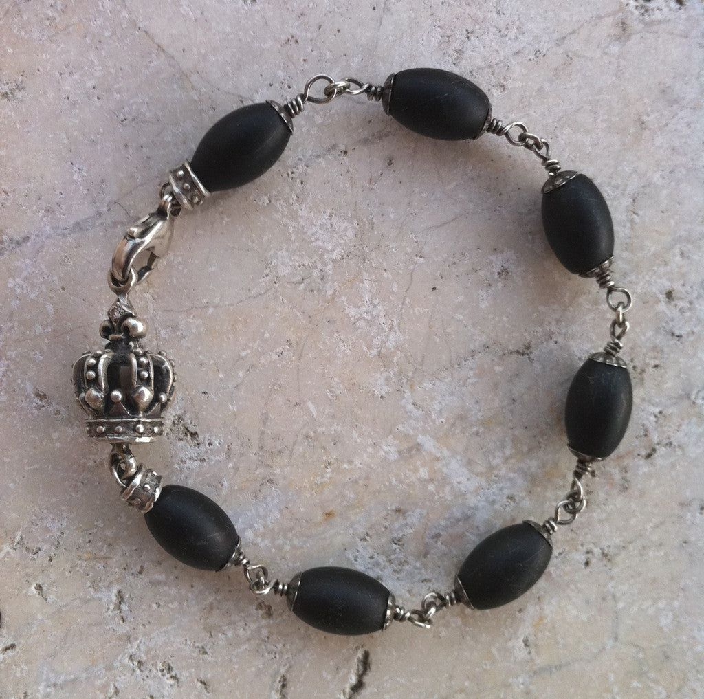 Sterling Silver Crown with Diamonds & Onyx Beads