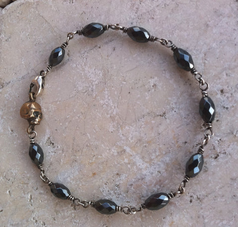 Bracelet - Bronze Skull with Diamonds & Hematite