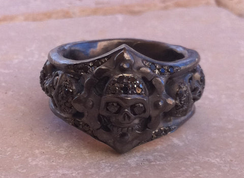 Ring - Sterling Silver Black Skull & Diamonds