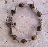 Tiger Eye Bracelet Silver Cross