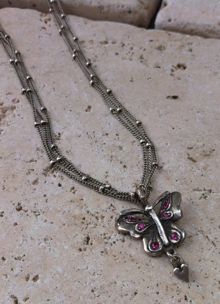 Sterling Silver Triple Chain Butterfly Necklace with Ruby Pave & Heart Drop