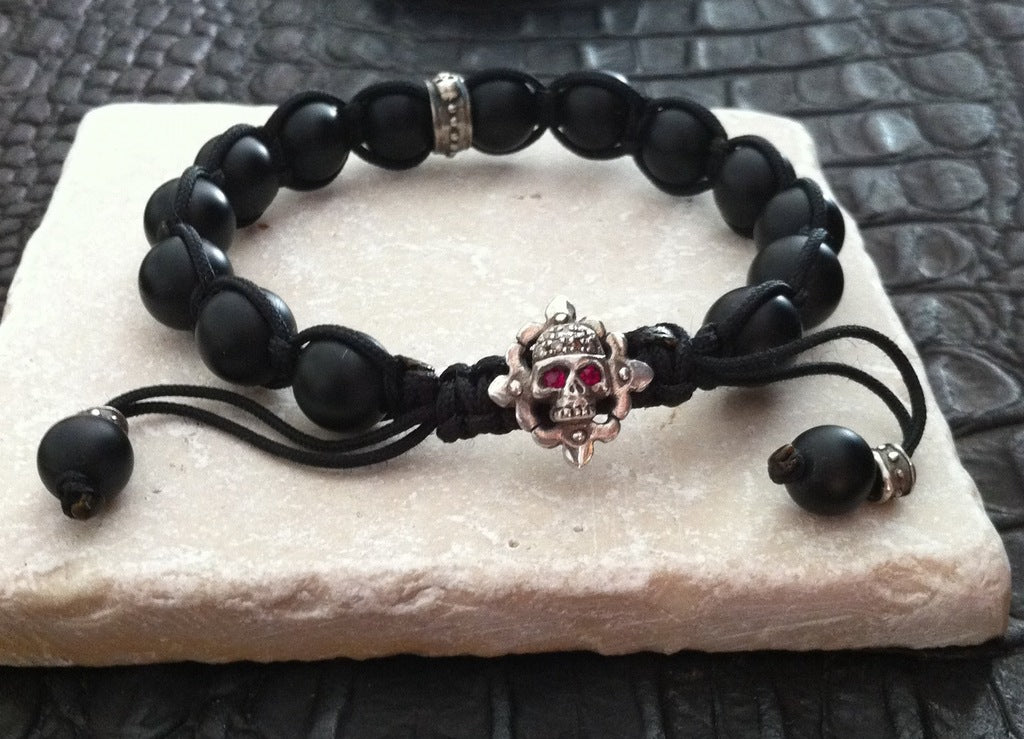 Sterling Silver Skull Diamond and Ruby Pave Bracelet with Onyx Beads