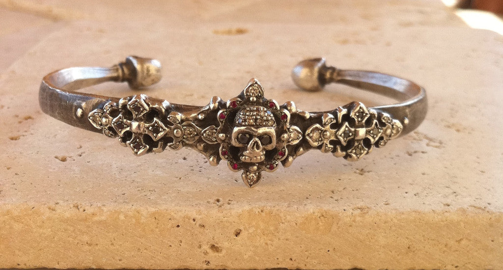 Silver Skull Cuff with Diamonds & Rubies by Roman Paul