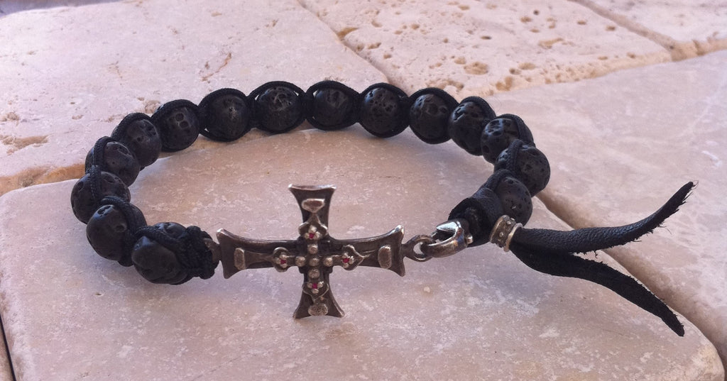 Sterling Silver Ruby Cross Bracelet with Black Lava Beads
