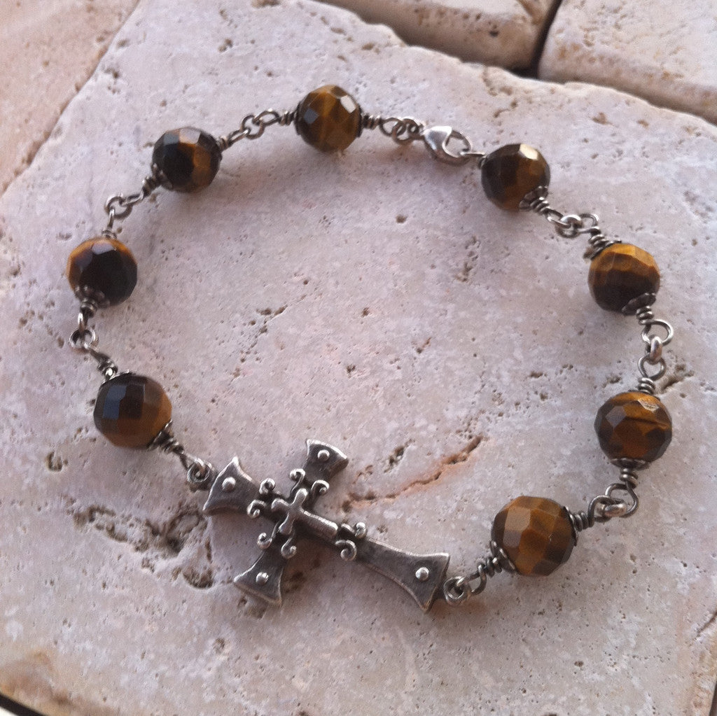 Cross Bracelet with Tiger Eye by Roman Paul