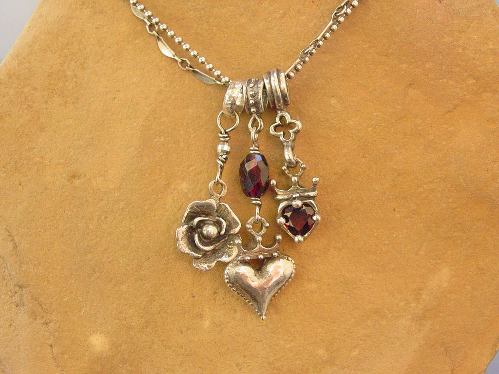 Sterling Silver Triple Charm Necklace with Garnets & Double Chain