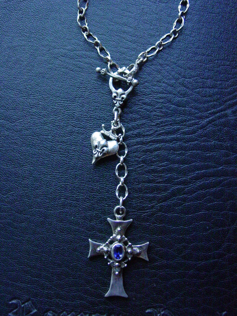 Sterling Silver Cross with Iolite & Crowned Fleur De Lis Heart Toggle Necklace