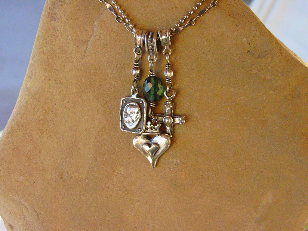 Sterling Silver Triple Charm Necklace with Tourmaline & Double Chain