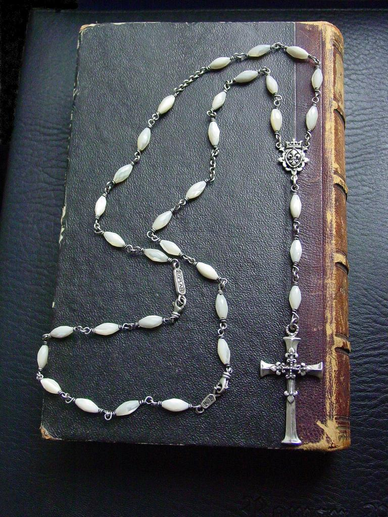 Rosary Style Cross & Fleur De Lis Necklace by Roman Paul