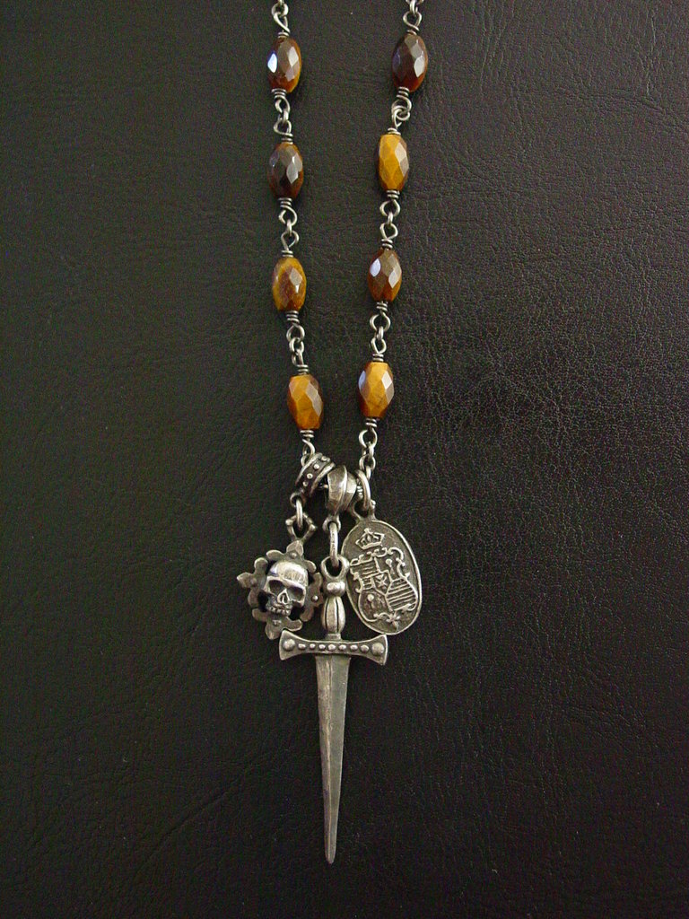 Sterling Silver Triple Charm Sword Necklace with Tiger Eye Oval Beads