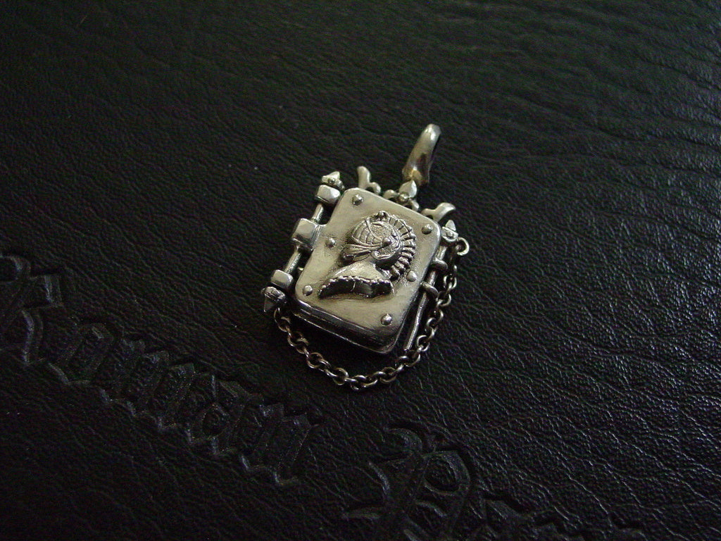 Sterling Silver Crowned Locket with Knight Helmet Profile