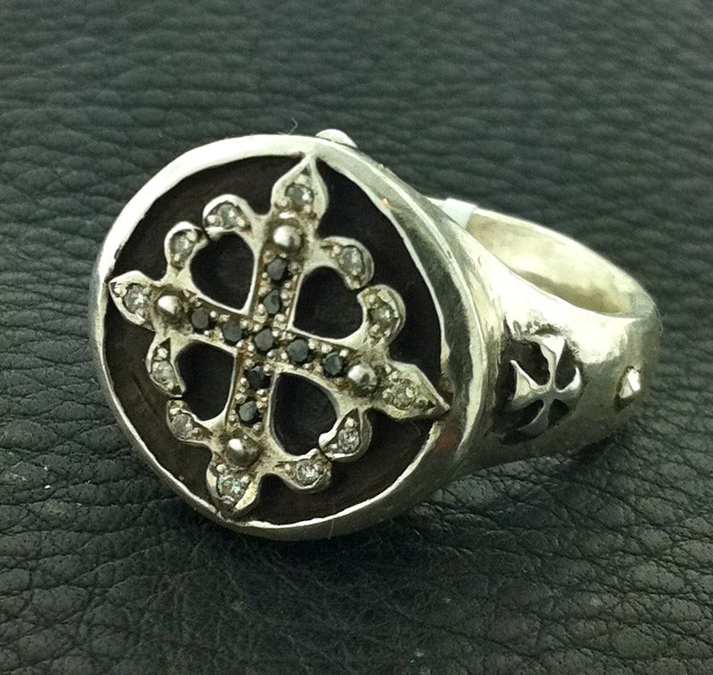 Silver art designer diamond cross ring