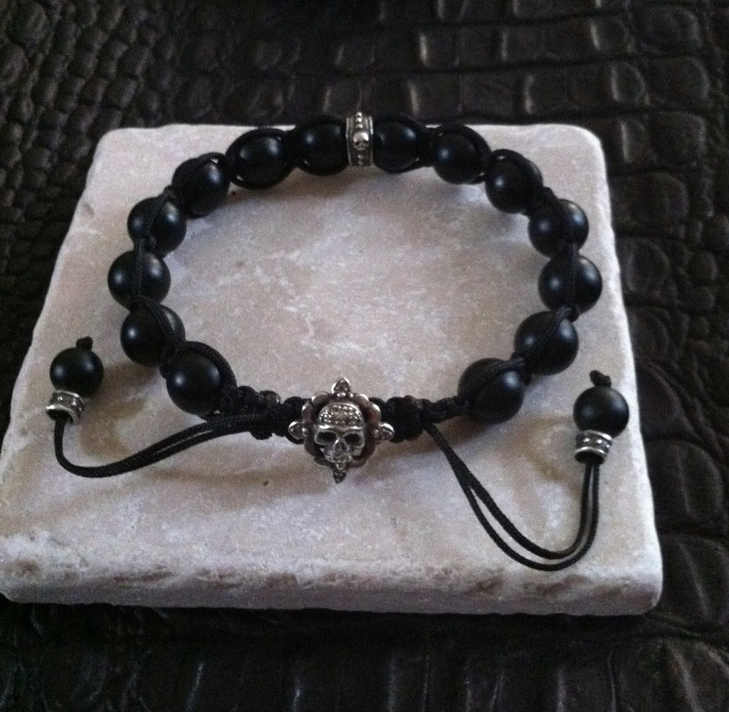 Sterling Silver Skull Diamond Pave Bracelet with Black Onyx Beads