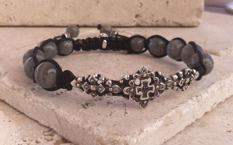 Sterling Silver Bar Bracelet with Cross