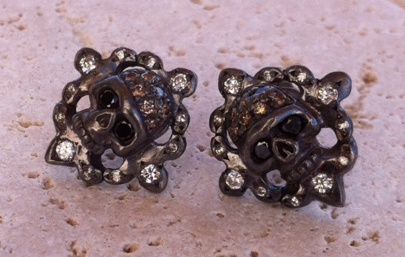 Silver Skulls with Diamond Pave Earrings by Roman Paul