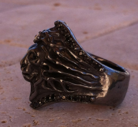 Ring - Sterling Silver Diamond Pave Lion