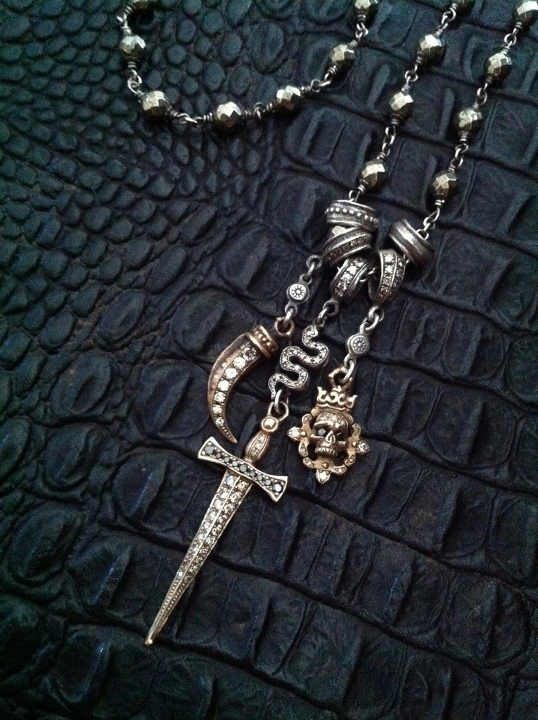 "Silver Necklace ""Snake with Sword"""