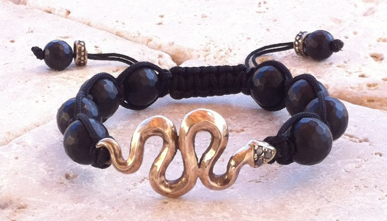 Bronze Snake Onyx Bracelet by Roman Paul