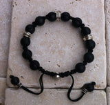 Sterling Silver Skull Diamond Pave Bracelet with Rondels & Onyx Beads