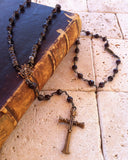 Rosary Style Bronze Cross Necklace with Garnet & Silver Beads