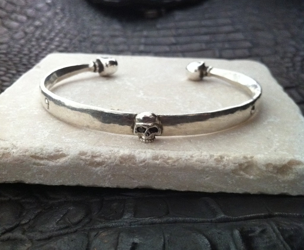 Sterling Silver Three Skull Cuff with Black Diamonds