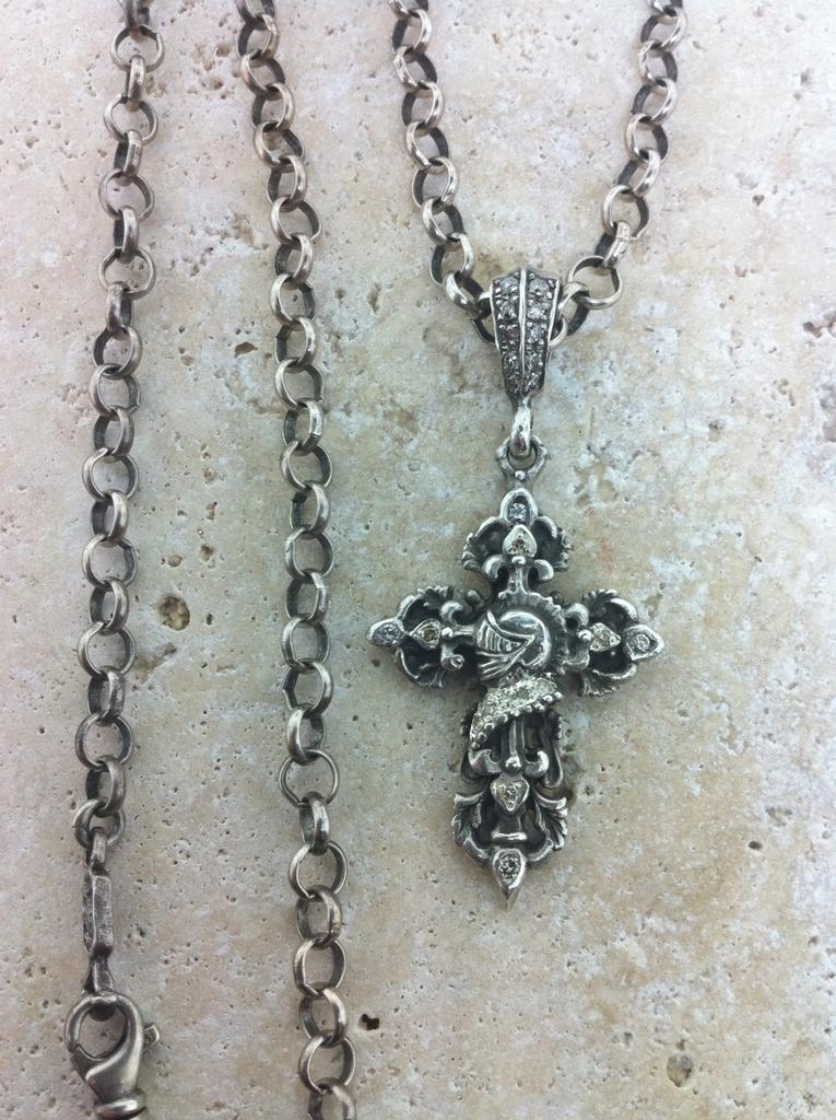 Sterling Silver Knight Helmet Profile Cross Diamond Pave Necklace