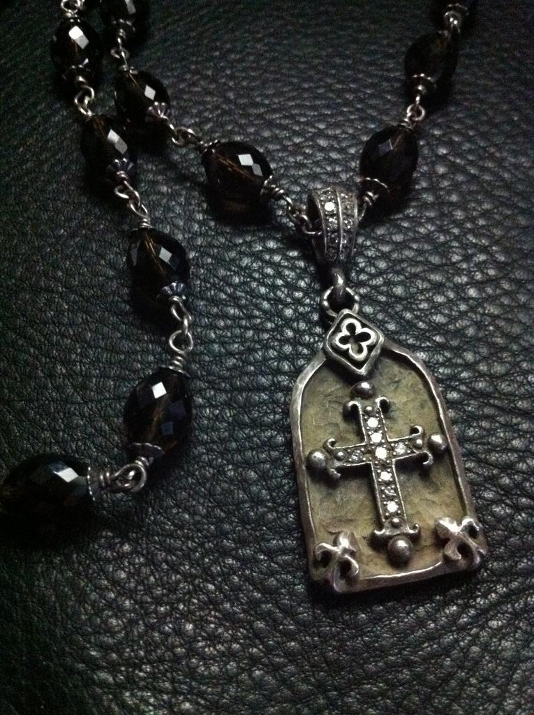 Sterling Silver Cross In Frame with Diamonds & Somky Topaz Beads