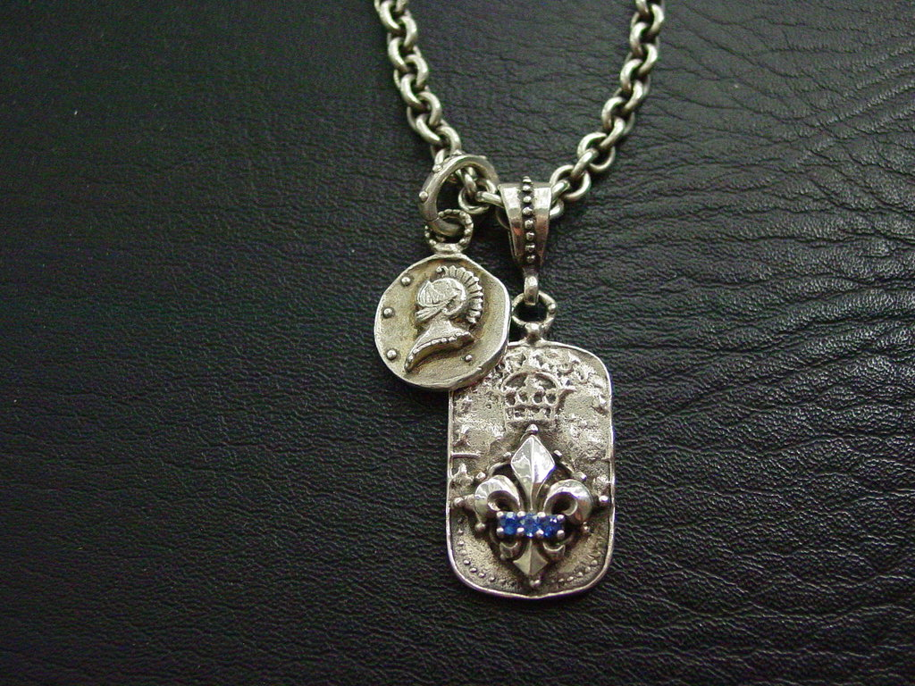 Sterling Silver Fleur De Lis Dog Tag with Sapphires and Knight Helmet Coin Necklace