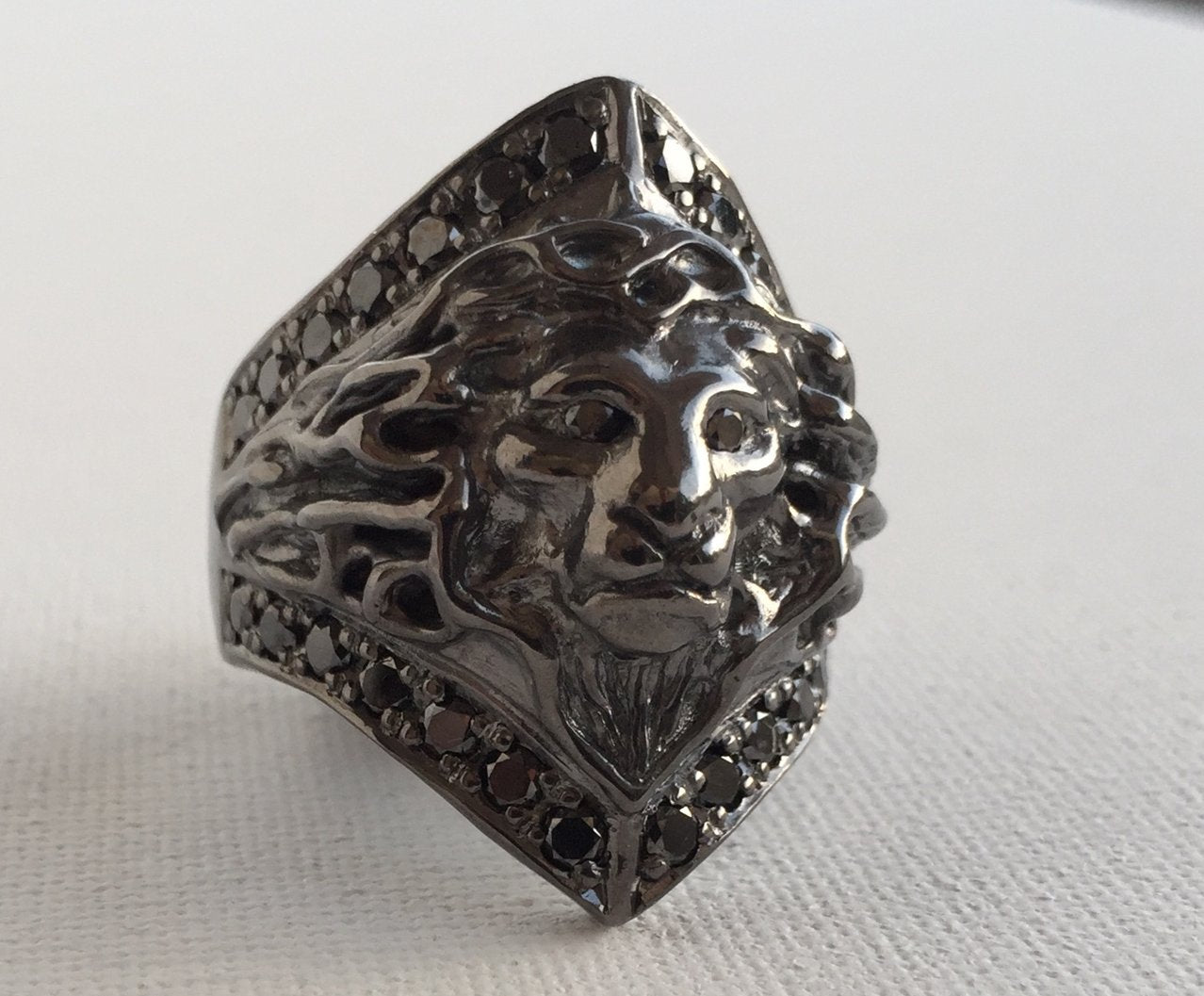 Lion Ring with black diamonds by Roman Paul Jewelry