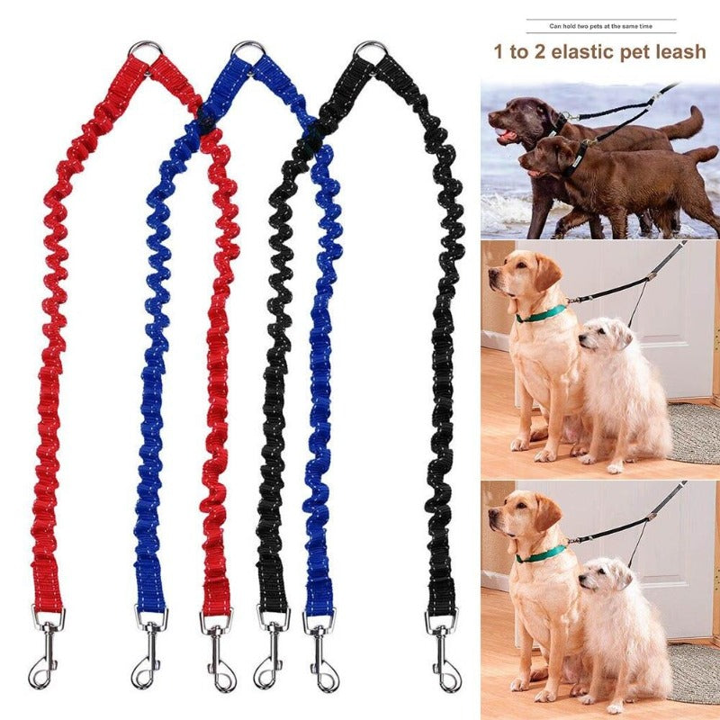 Pet Leash - Twin Elastic Dog Leash Coupler