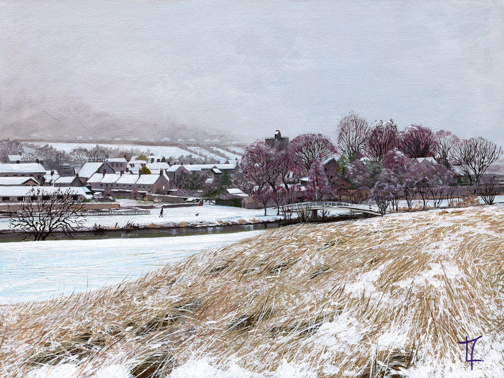 Village in the Snow- Across the River
