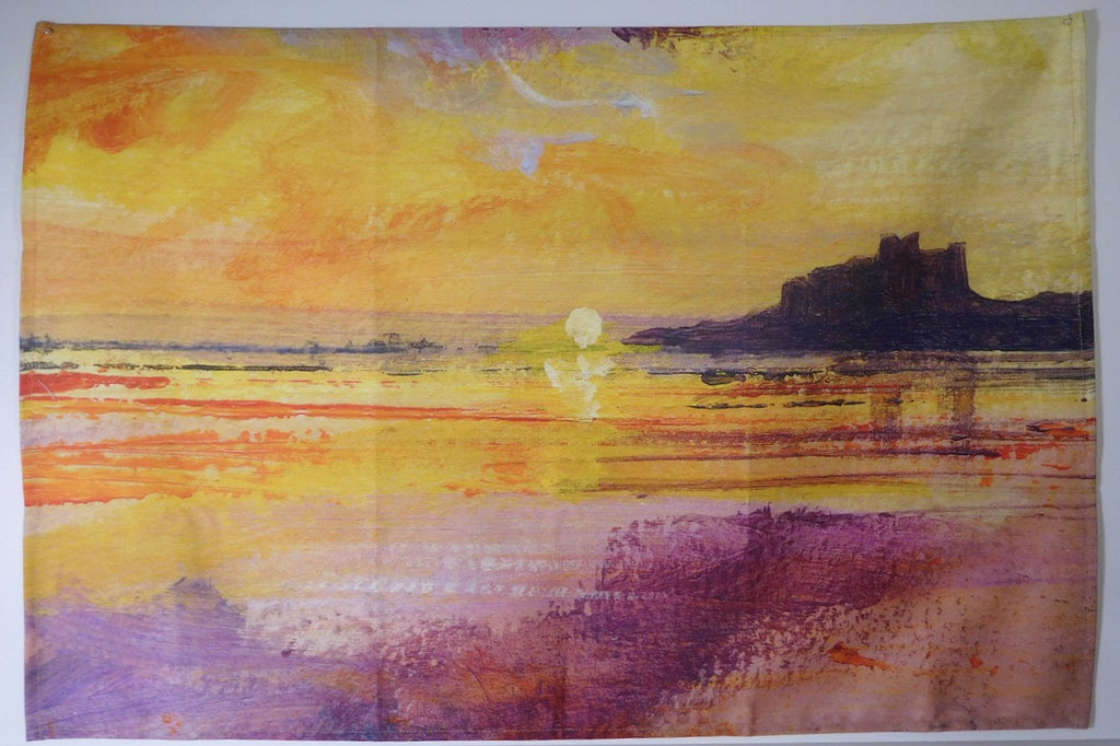Tea Towel- Bamburgh Castle Sunrise Design