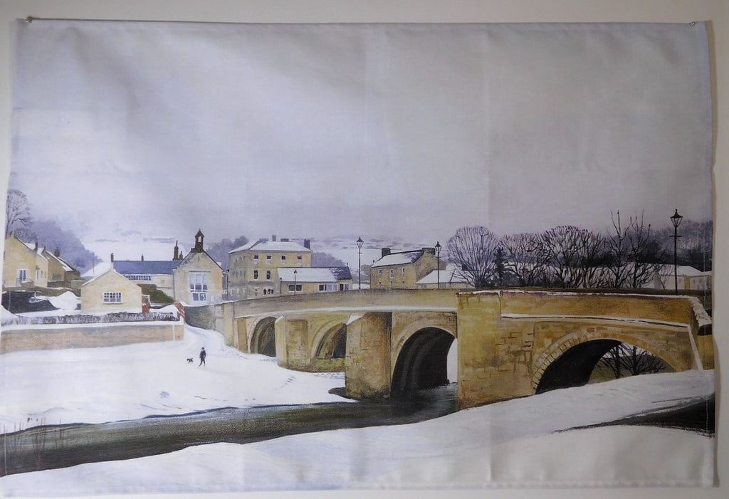 Tea Towel- Rothbury Bridge with Snow