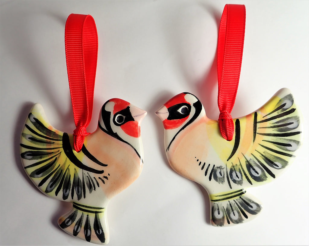 Ceramic Art- Pair of Goldfinches