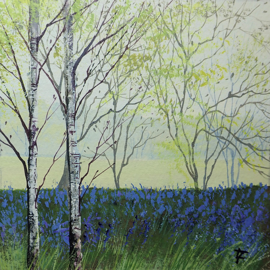 Birches and Bluebells - Original Painting