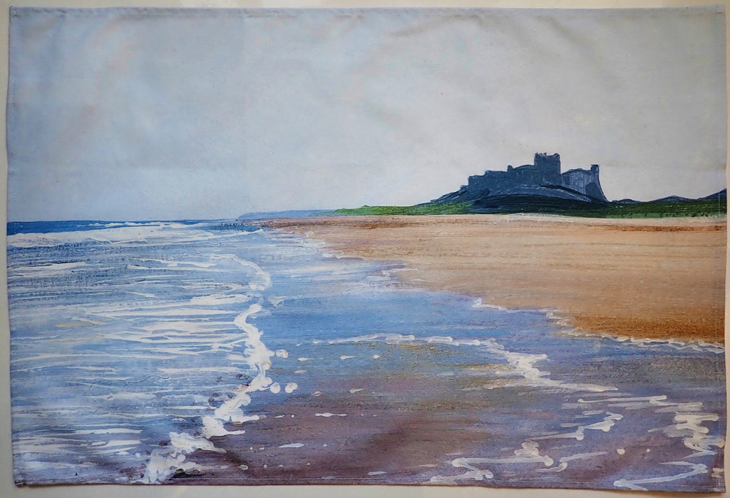 Tea Towel- Bamburgh Beach Rising Tide