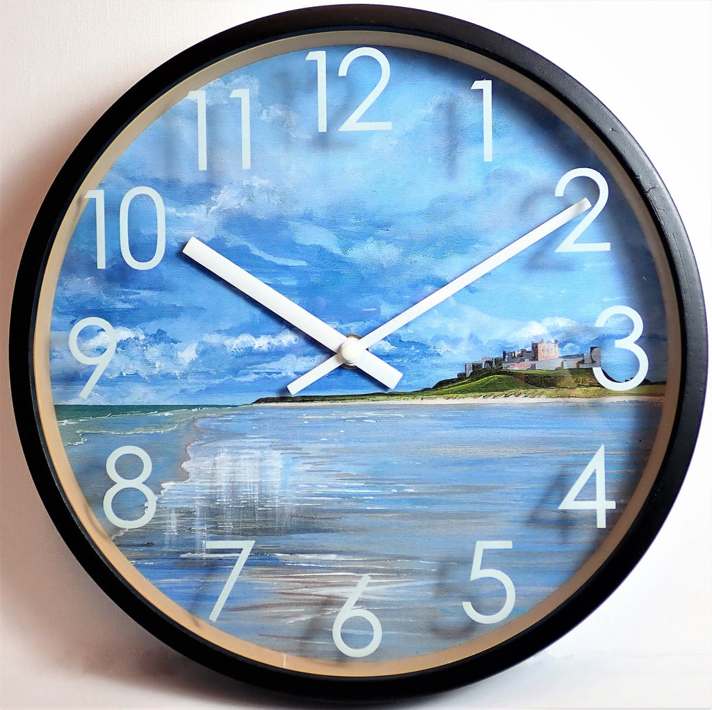 Clock with Black Birchwood Surround-Bamburgh Beach Reflections Design