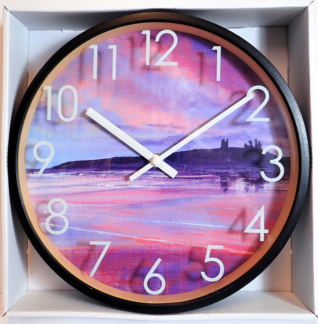 Clock with Black Birchwood Surround- Dunstanburgh Morning Reflections Design