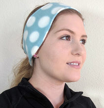 Load image into Gallery viewer, Fleece Headband- Light Blue and White