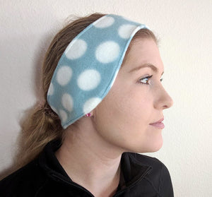 Fleece Headband- Light Blue and White