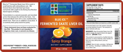 BLUE ICE FERMENTED SKATE LIVER OIL Spicy Orange Liquid by Green Pasture