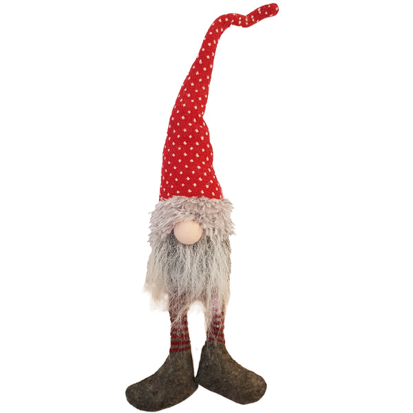Red & White Spotted Spring Gnome with Dangly Legs 40CM - NC050