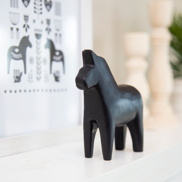 Black Dala Resin Horse - 8.5 x 9.5CM (CODE 1004) - Wholesale