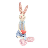 Blue fabric Rabbit with sparkly sequin ears & feet with dangly legs sitting 48CM (CODE 1014) - Wholesale  NB! NEW STOCK COMING SOON!