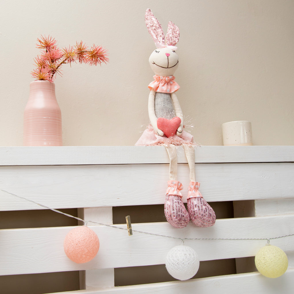Pink fabric Rabbit with sparkly sequin ears & feet dangly legs sitting - 48CM (CODE 1015) - Wholesale  NB! NEW STOCK COMING SOON!