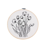 Black embroidery DIY kit with hoop - TULIPS - DIA 20cm (CODE 1008)