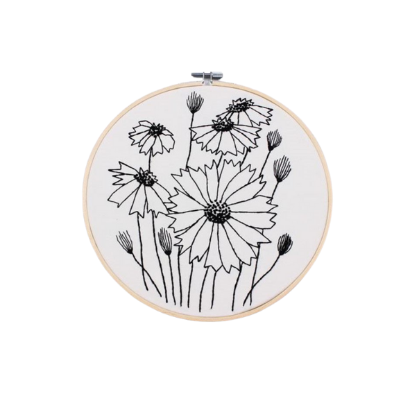 BLACK EMBROYDERY DIY KIT WITH HOOP - DAISIES - DIA 20cm (Code 1009)