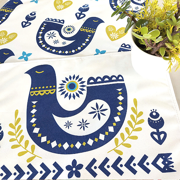 Pack of 2 Nordic Inspired Design quick towels Tea-Towels - Skandi Fugle (Scandi Birds) (CODE TT1002) - Wholesale