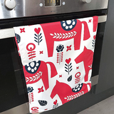 Pack of 2 Nordic Inspired Design quick drying Tea-Towels - Dala Heste (Dala Horse) (CODE TT1001) - Wholesale