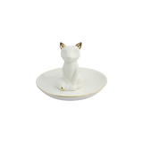 Nordic White & Gold Ceramic Fox Jewellery Holder - 11CM Dia (CODE 1001) - Wholesale